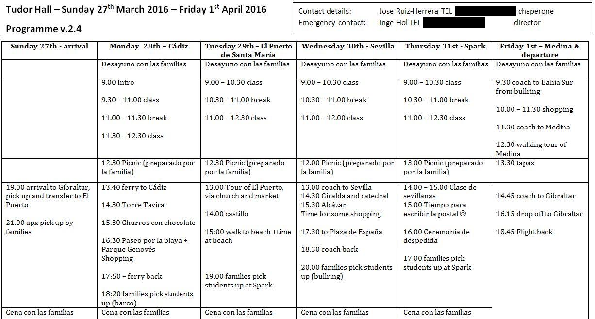 timetable tudorhall spanish courses. Black Bedroom Furniture Sets. Home Design Ideas